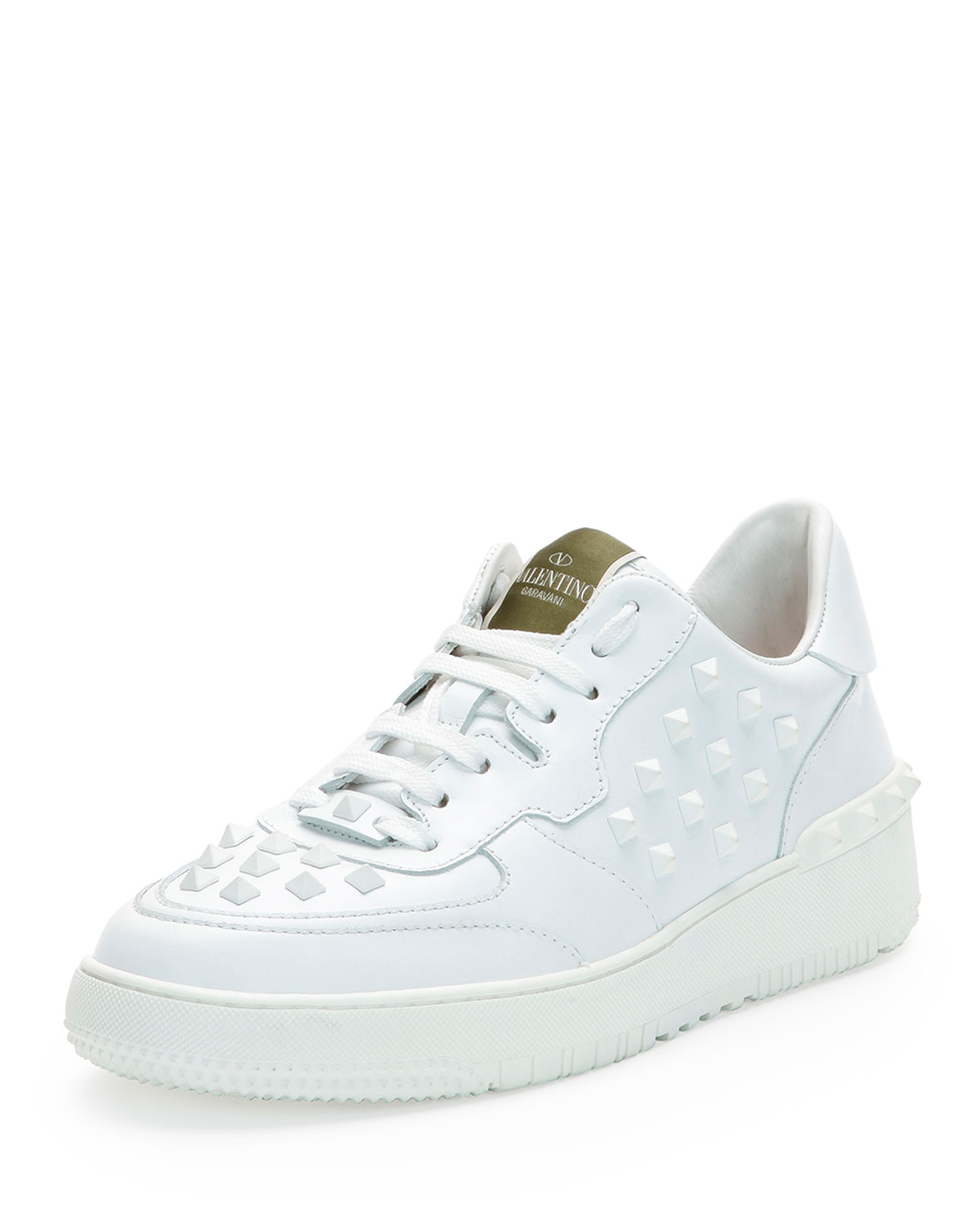 Valentino Rock Be Studded Low-Top Sneaker, White, Men's, Size: 45EU/12US