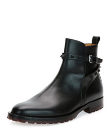 Rockstud Leather Chelsea Boot, Black
