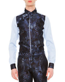 Camu Butterfly Paneled Dress Shirt, Blue