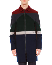 Colorblock Long-Sleeve Coat, Navy/Burgundy/Green/Gray