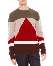 Geo Colorblock Crewneck Cashmere Sweater, Green