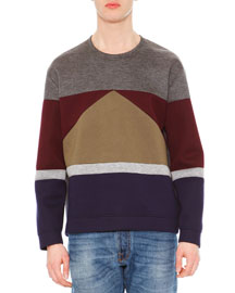 Long-Sleeve Colorblock Sweater, Gray Multi
