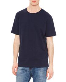 Short-Sleeve Stud-Back T-Shirt, Navy