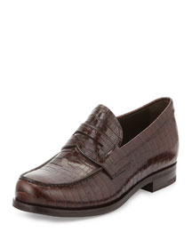 Crocodile Embossed Penny Loafer, Brown