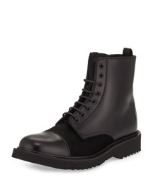Lace-Up Leather Military Boot, Black