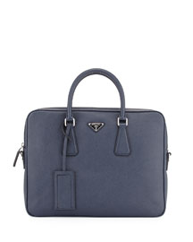 Saffiano Slim Briefcase with Shoulder Strap