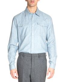Western Flannel Shirt, Light Blue