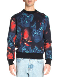 Floral-Print Crewneck Sweatshirt, Black