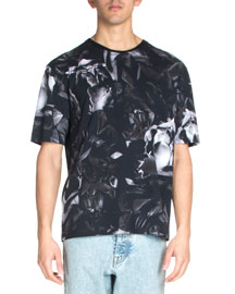 Floral-Print Short-Sleeve Tee, Black