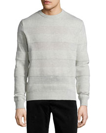 Intarsia Striped Crewneck Sweater, Gray