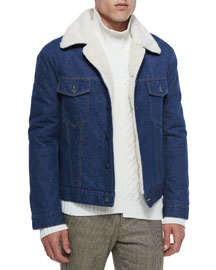 Denim Jacket with Faux Fur Collar, Indigo