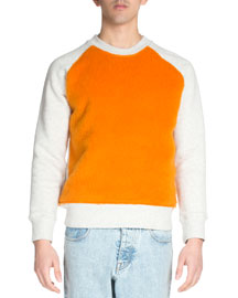 Colorblock Crewneck Sweatshirt, Cream