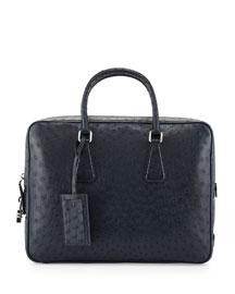 Ostrich Leather Briefcase, Blue