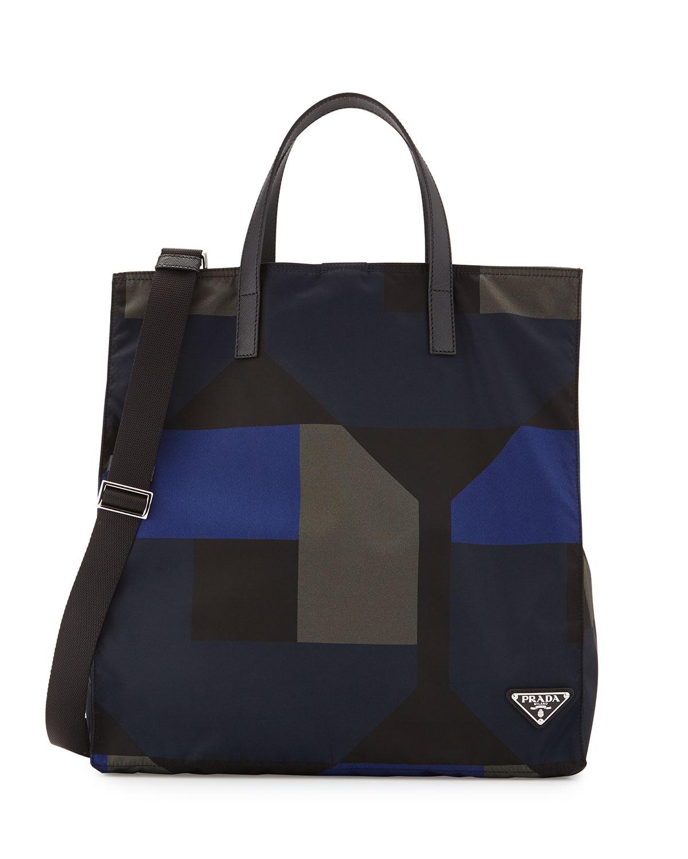 Men's Printed Nylon Tote Bag, Black/Blue