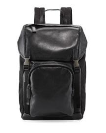 Men's Leather & Nylon Backpack, Black