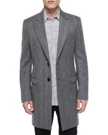 Herringbone Wool Long-Coat, Gray