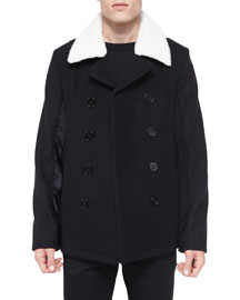 Melton Double-Breasted Wool Coat, Dark Blue