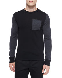 Colorblock Crewneck Wool Sweater, Black