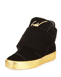 Men's Two-Strap Velvet High-Top Sneaker, Black