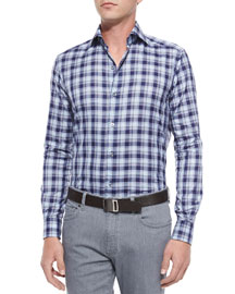 Large Plaid Woven Sport Shirt, Navy