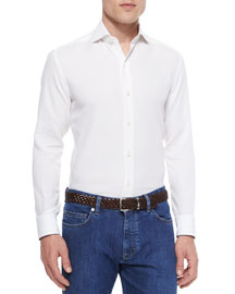 Mesh-Knit Long-Sleeve Sport Shirt, White