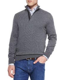 Cashmere-Blend Textured Pullover, Dark Gray