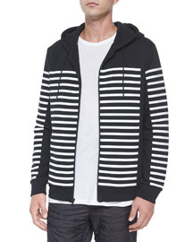 Geo-Print Zip-Up Hooded Jacket, Black