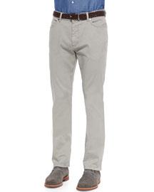 Five-Pocket Straight-Leg Denim Jeans, Putty Gray
