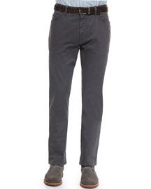 Five-Pocket Slim-Fit Pants, Dark Gray