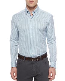 Striped Long-Sleeve Sport Shirt, Green