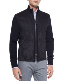 Suede-Front Quilted Jacket, Navy