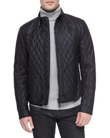 Welbeck Wax Knit Quilted Jacket, Black