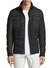 Hawkley Mixed-Media Flannel Jacket, Gray
