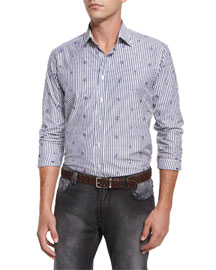 Stripe & Small Paisley-Print Woven Shirt, Gray