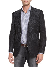 Paisley-Print Two-Button Jacket, Dark Gray