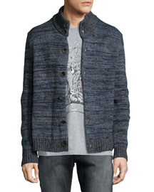 Broken-Stripe Knit Cardigan, Blue