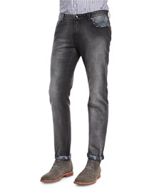 Faded Slim-Fit Jeans with Paisley Detail, Black