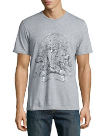 Hand-Painted Crown Graphic Tee, Gray