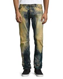Barracuda Dirty Brown Washed Denim Jeans, Indigo
