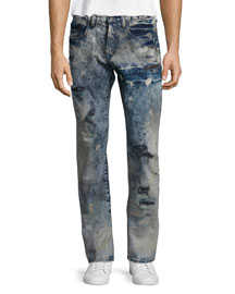 Barracuda Distressed Tie-Dye Jeans, Blue