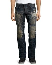 Barracuda Faded Moto-Style Jeans, Indigo