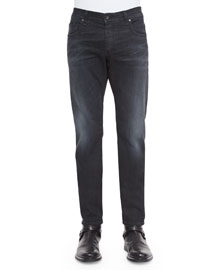 Slim-Fit Faded Denim Jeans, Black