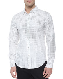 Dot-Print Long-Sleeve Woven Shirt, White