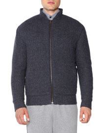 Textured Cashmere Bomber Jacket, Charcoal