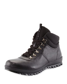 Lugged Leather Hiking Boot, Black