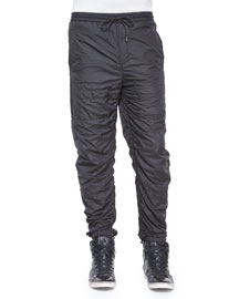 Nylon Quilted Track Pants, Black