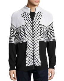Fair Isle Knit Zip-Up Jacket, Black