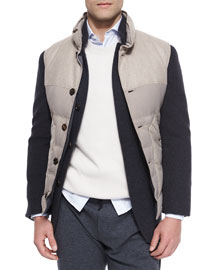Mixed Media Button-Front Vest, Light Brown