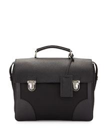 Runway Flap-Top Small Saffiano Briefcase, Black