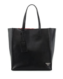 Soft Leather Tote Bag, Black/Red